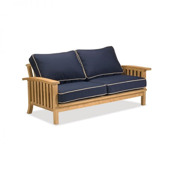 modern sofa blue padding wooden works jepara